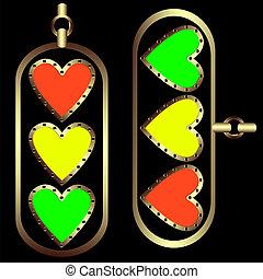 Set of decorative hearts
