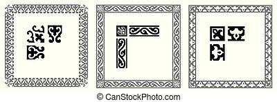 Set of decorative modular ornamental border with corner - Vector