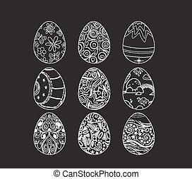 Set of decorative ornamental black