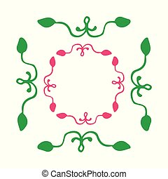 Set of decorative ornamental border with corner. Quadrangular frames