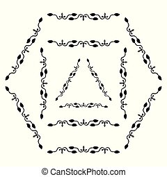 Set of decorative ornamental border with corner. Triangular, quadrangular, hexagonal frames
