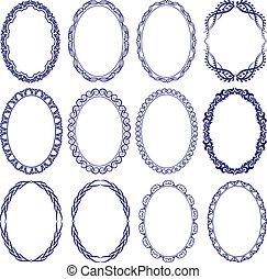 set of decorative oval borders