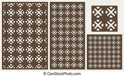 Set of decorative panels laser cutting. a wooden panel. National ethnic allover pattern in square shapes. The ratio 2:3, 1:2, 1:1, seamless. Vector illustration.