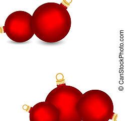 Set of decorative red Christmas balls isolated on white background, illustration
