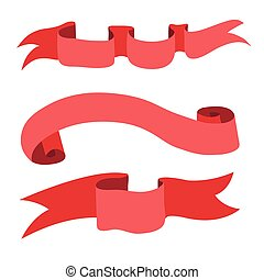Set of decorative red ribbon banners. Vector illustration, isolated on white.