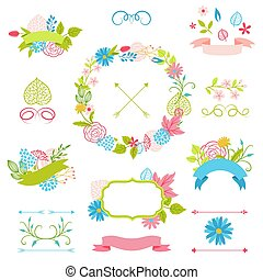 Set of decorative ribbons with spring flowers.