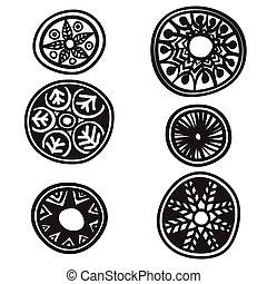 Set of decorative round elements on white background