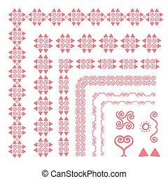 Set of decorative seamless ornamental border with corner. Separate ornamentation elements. Pink