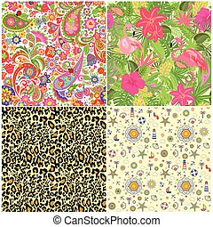 Set of decorative summery wallpapers with ethnic floral pattern, exotic flowers, tropical leaves, flamingo and animal fashion print for fabric, textile, wrapping paper, wallpaper, web design