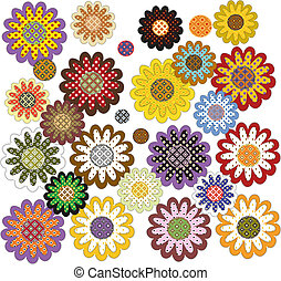 Set of decorative sunflowers