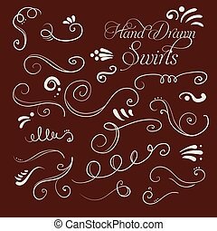Set of decorative swirls hand-drawn for your design. Vector