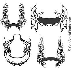 Set of decorative wreath templates