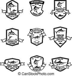 Set of deep sea marlin fishing emblems. Design element for logo, label, emblem, sign.