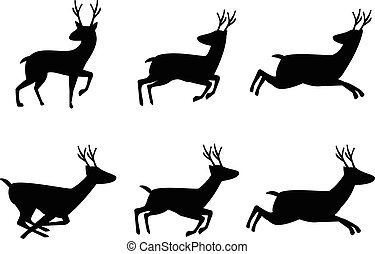 Set of deer icon in silhouette style, vector