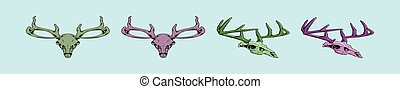 set of deer skull cartoon icon design template with various models. vector illustration isolated on blue background