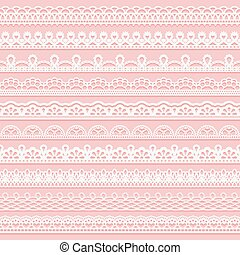 Set of delicate lace borders for design. White seamless ribbons on a pink background.