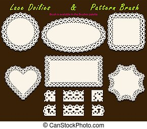 Set of delicate openwork White Lace pattern brush and different lacy napkins, doilies and tracery elements.