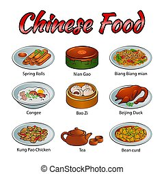 Set of delicious and famous food of Chinese in colorful gradient design icon