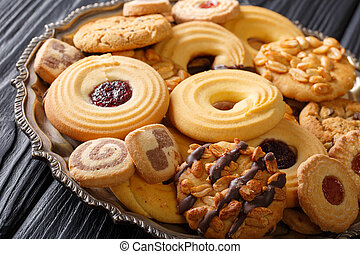 set of delicious cookies close-up on a plate. horizontal