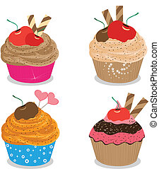 Set of delicious cupcakes isolated