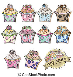 Set of delicious cupcakes vector