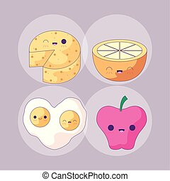 set of delicious food and fruits style kawaii