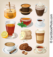 Set of delicious hot drinks: coffee, tea and supplies....