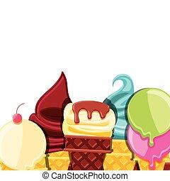 set of delicious ice cream in cone
