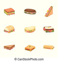 Set of delicious juicy sandwiches with vegetables, cheese, meat, bouqon with a crispy crust.