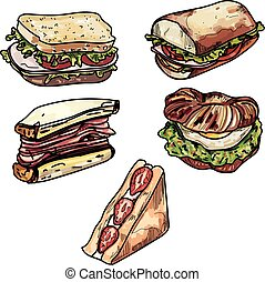 Set of delicious sandwich illustrations.