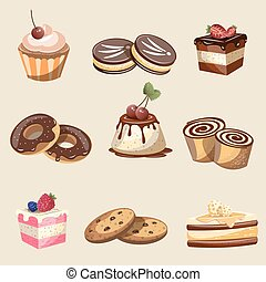 Set of delicious sweets and desserts