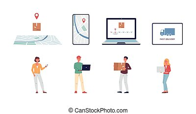 Set of delivery and parcel tracking icons flat vector ...