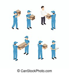 Set of delivery man with boxes - Set of delivery service man...