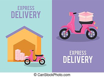 set of delivery service motorcycles