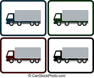 set of delivery truck icon