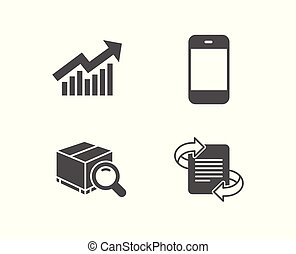 Demand curve, Search package and Smartphone icons. Marketing sign.