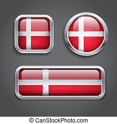Denmark  flag glass buttons