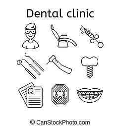 Set of dental clinic in modern thin line style. High quality black outline teeth symbols for web site design and mobile apps. Simple dentistry pictograms on a white background.