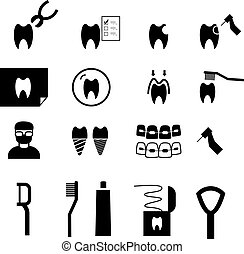Set of Dental icons in silhouette style, vector