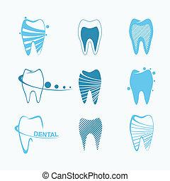 Set of dental icons - Stylized set of teeth for dental