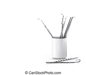 set of dental instruments on white background vector illustration