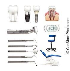 Set of dental objects