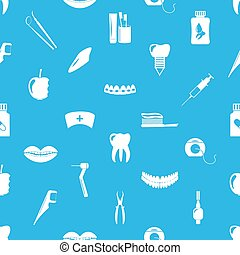 set of dental theme icons blue seamless pattern eps10