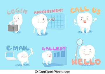 set of dental web design - set of cute cartoon tooth with...