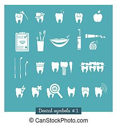 Set of dentistry symbols, part 1. Dental tools etc.