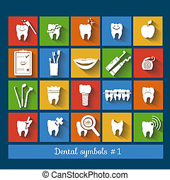 Set of dentistry symbols. part 1