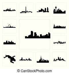 Set of denver skyline, dallas skyline on white background, , nyc wisconsin, crime scene body, kansas city minneapolis chicago icons