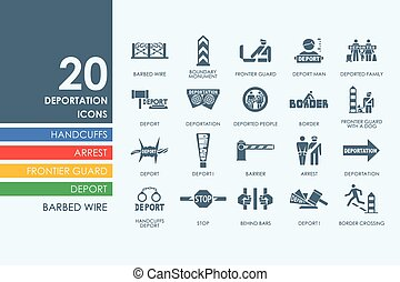 deportation vector set of modern simple icons
