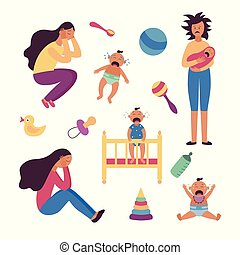Set of depressed tired women and crying babies and toys flat cartoon style
