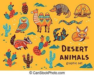 Set of desert animals